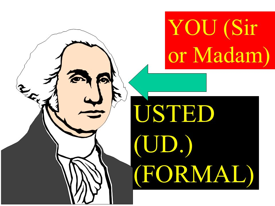 USTED (UD.) (FORMAL) YOU (Sir or Madam)