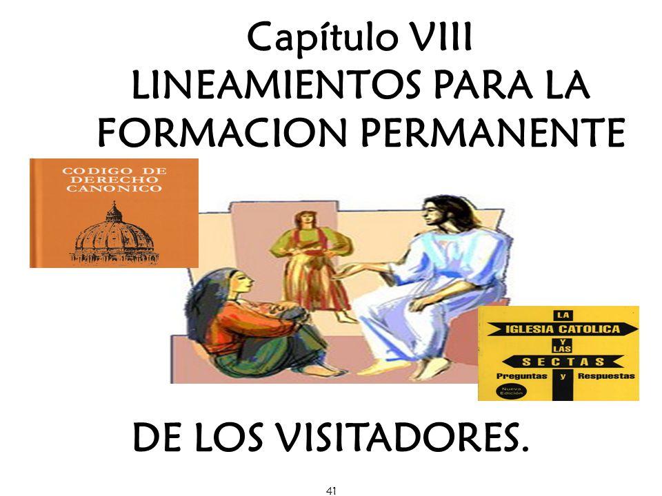 41 Capítulo VIII LINEAMIENTOS PARA LA FORMACION PERMANENTE DE LOS VISITADORES.