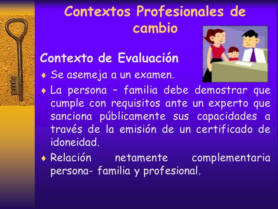 Contextos Profesionales de cambio Contexto Terapéutico Este contexto se inicia con un contrato que delimita la actuación del sistema, intenta a través