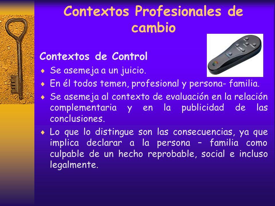 Contextos Profesionales de cambio Contexto de Evaluación La persona- familia presenta una construcción de su historia con el objetivo de ser aprobado