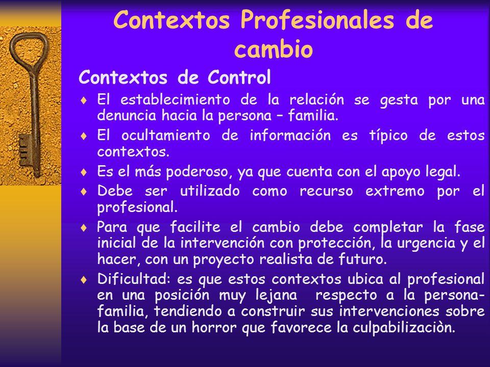 Contextos Profesionales de cambio Contextos de Control Se asemeja a un juicio. En él todos temen, profesional y persona- familia. Se asemeja al contex