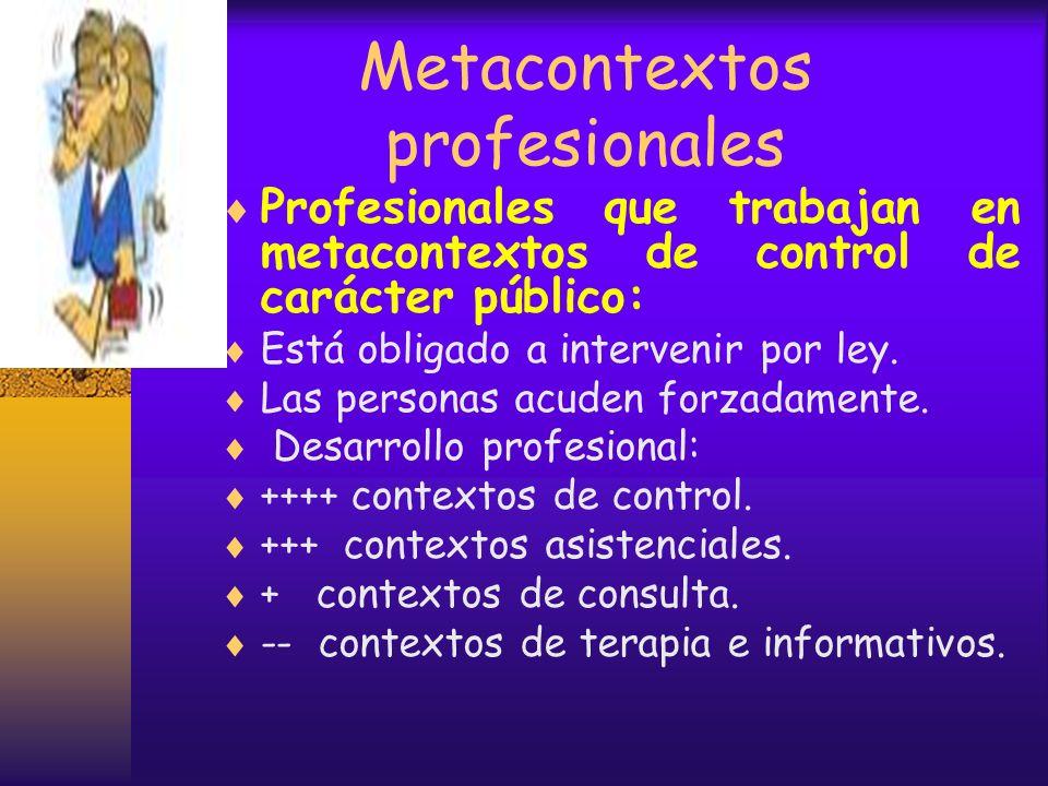 Metacontextos profesionales Profesionales que trabajan en metacontextos de terapia, privada: Acepta a la personas en condiciones que fija desde el ini