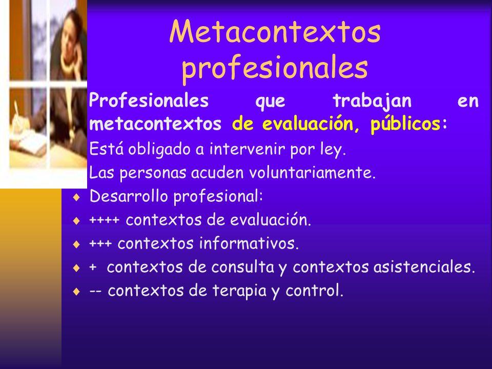 Metacontextos profesionales Profesionales que trabajan en metacontextos de control de carácter público: Está obligado a intervenir por ley. Las person