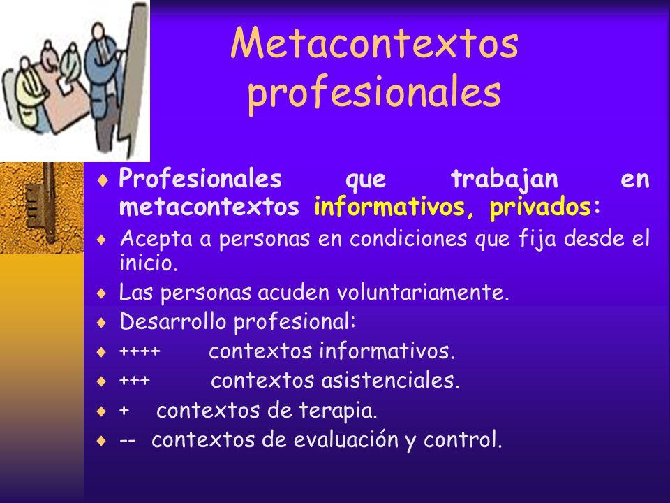 Metacontextos profesionales Profesionales que trabajan en metacontextos de evaluación, públicos: Está obligado a intervenir por ley. Las personas acud