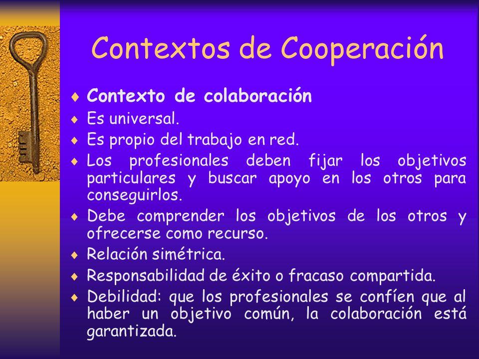 Contextos de Cooperación En ocasiones los profesionales realizan un trabajo de continuos intercambios, ya sea por razones personales, profesionales o