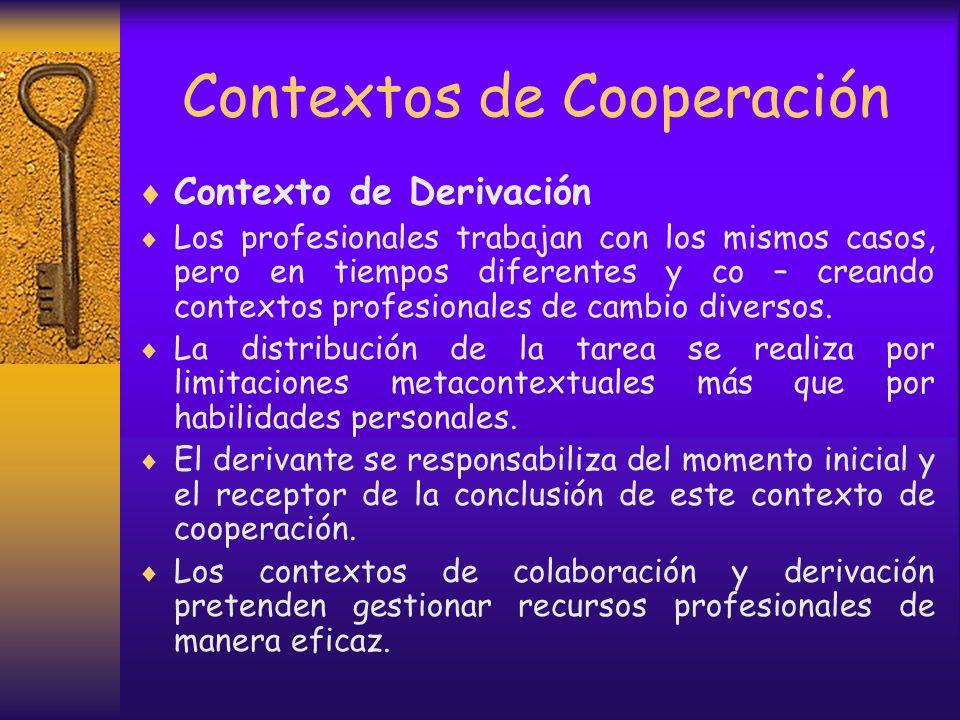 Contextos de Cooperación Contexto de colaboración Es universal. Es propio del trabajo en red. Los profesionales deben fijar los objetivos particulares