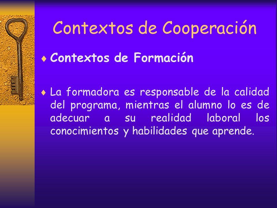 Contextos de Cooperación Contexto de Derivación Los profesionales trabajan con los mismos casos, pero en tiempos diferentes y co – creando contextos p