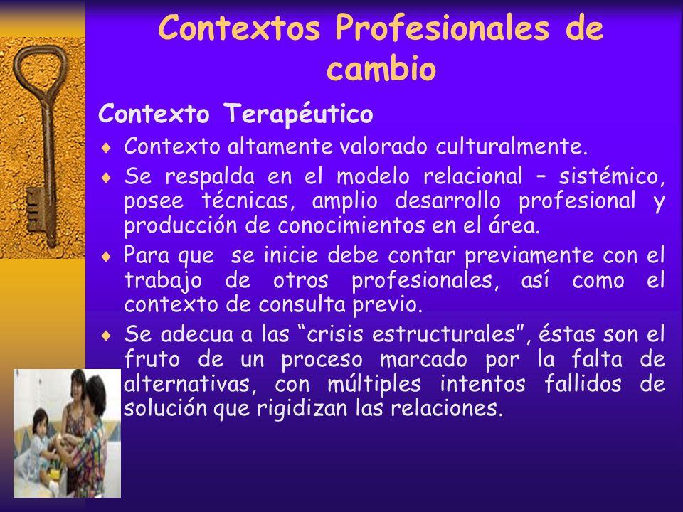 Contextos Profesionales de cambio Contextos de Consulta Ventaja: Ubica al profesional en una posición segura que favorece la comprensión de la persona