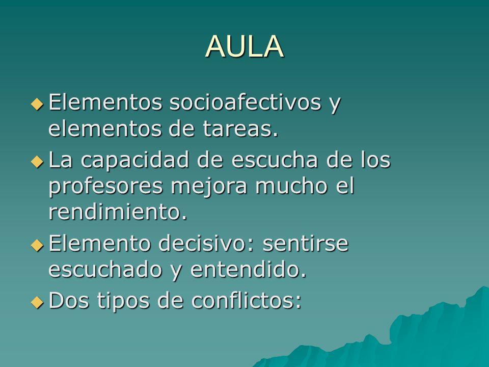 AULA Elementos socioafectivos y elementos de tareas.