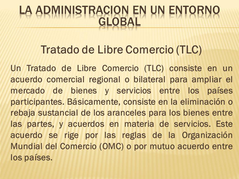 Tratado de Libre Comercio (TLC) Un Tratado de Libre Comercio (TLC) consiste en un acuerdo comercial regional o bilateral para ampliar el mercado de bi