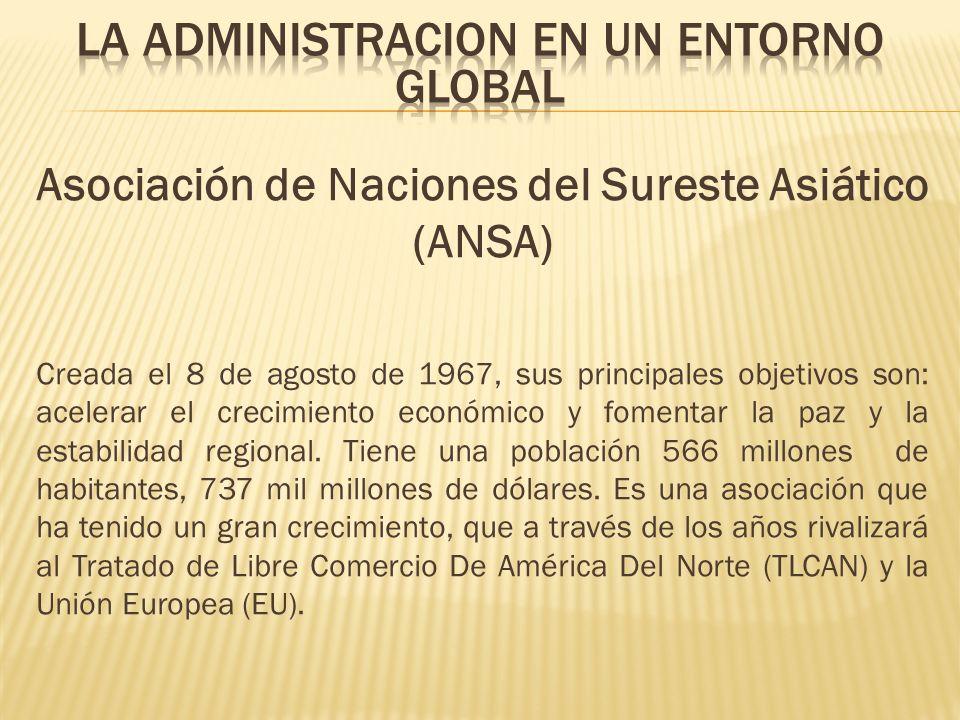 Asociación de Naciones del Sureste Asiático (ANSA) Creada el 8 de agosto de 1967, sus principales objetivos son: acelerar el crecimiento económico y f