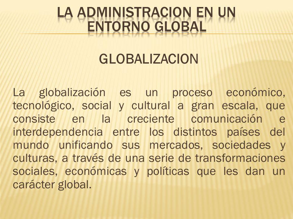 GLOBALIZACION La globalización es un proceso económico, tecnológico, social y cultural a gran escala, que consiste en la creciente comunicación e inte