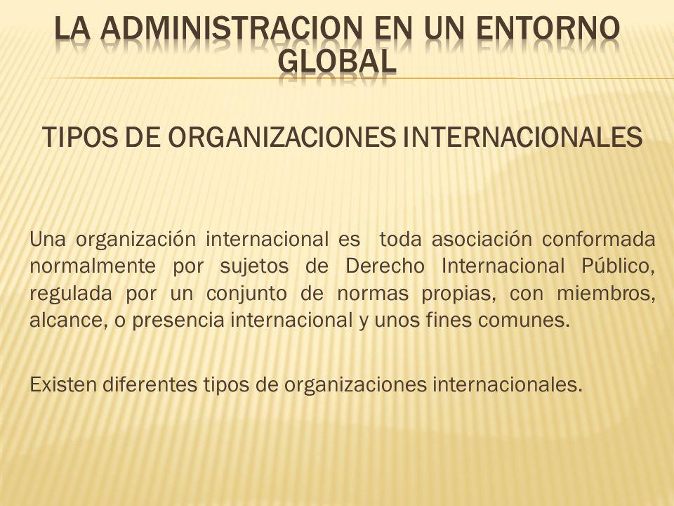 TIPOS DE ORGANIZACIONES INTERNACIONALES Una organización internacional es toda asociación conformada normalmente por sujetos de Derecho Internacional