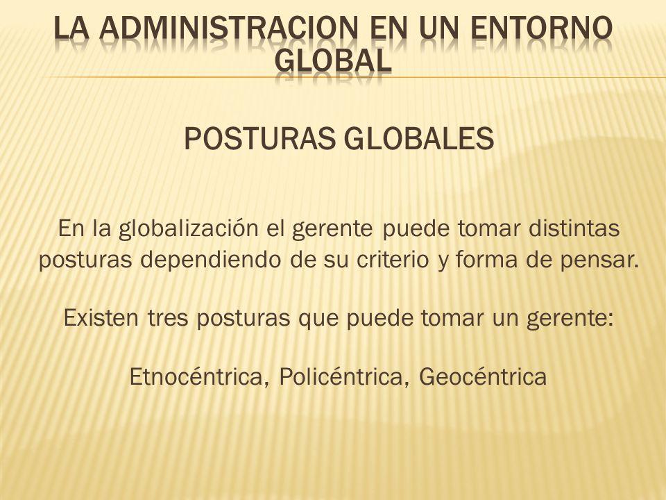 POSTURAS GLOBALES En la globalización el gerente puede tomar distintas posturas dependiendo de su criterio y forma de pensar. Existen tres posturas qu