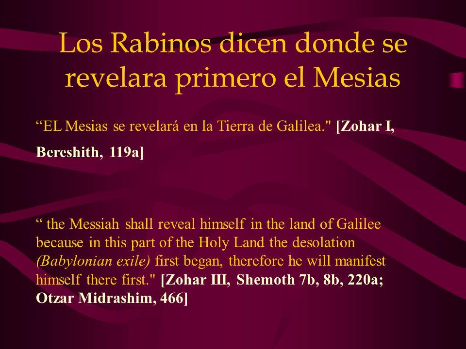 Los Rabinos dicen donde se revelara primero el Mesias EL Mesias se revelará en la Tierra de Galilea.