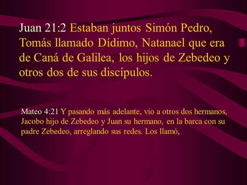 Juan 21:2 Estaban juntos Simón Pedro, Tomás llamado Dídimo, Natanael que era de Caná de Galilea, los hijos de Zebedeo y otros dos de sus discípulos. M