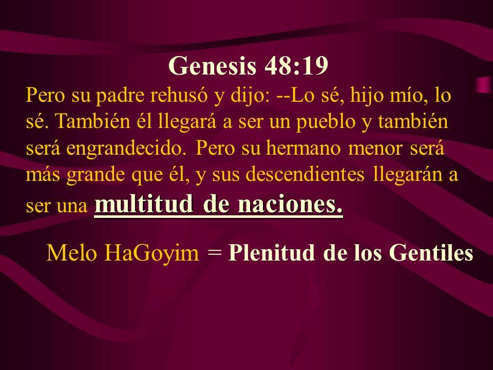 Genesis 48:19 multitud de naciones. Pero su padre rehusó y dijo: --Lo sé, hijo mío, lo sé. También él llegará a ser un pueblo y también será engrandec