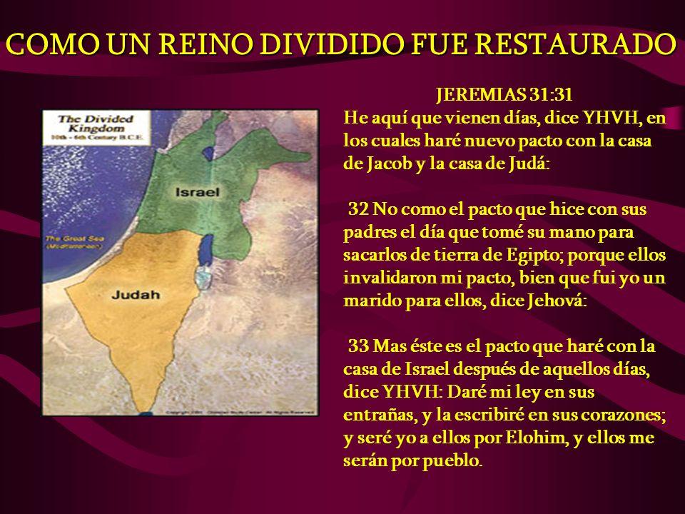 COMO UN REINO DIVIDIDO FUE RESTAURADO JEREMIAS 31:31 He aquí que vienen días, dice YHVH, en los cuales haré nuevo pacto con la casa de Jacob y la casa