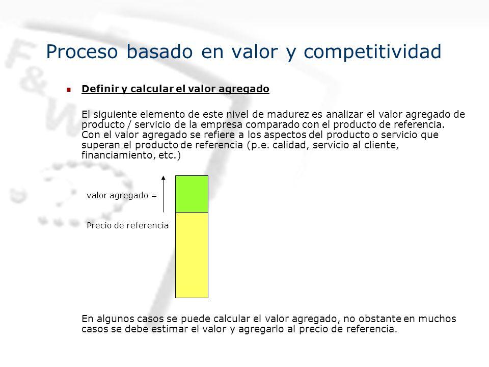Definir y calcular el valor agregado El siguiente elemento de este nivel de madurez es analizar el valor agregado de producto / servicio de la empresa comparado con el producto de referencia.