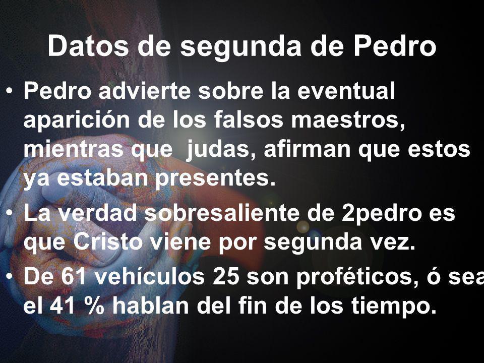 Datos de segunda de Pedro Las últimas epístolas universales, 2Pedro, Judas, Primera, Segunda y Tercera de Juan, fueron escritas para resistir estas te