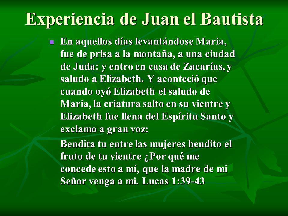 Experiencia de Juan el Bautista En aquellos días levantándose Maria, fue de prisa a la montaña, a una ciudad de Juda: y entro en casa de Zacarías, y s