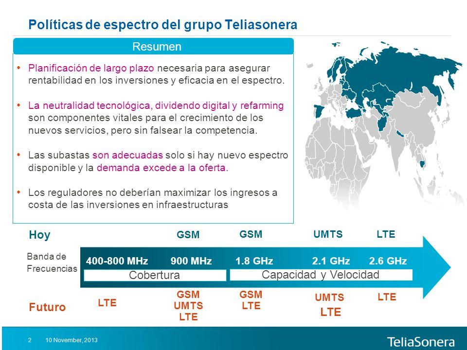 Políticas de espectro del grupo Teliasonera GSM UMTS LTE Planificación de largo plazo necesaria para asegurar rentabilidad en los inversiones y eficacia en el espectro.