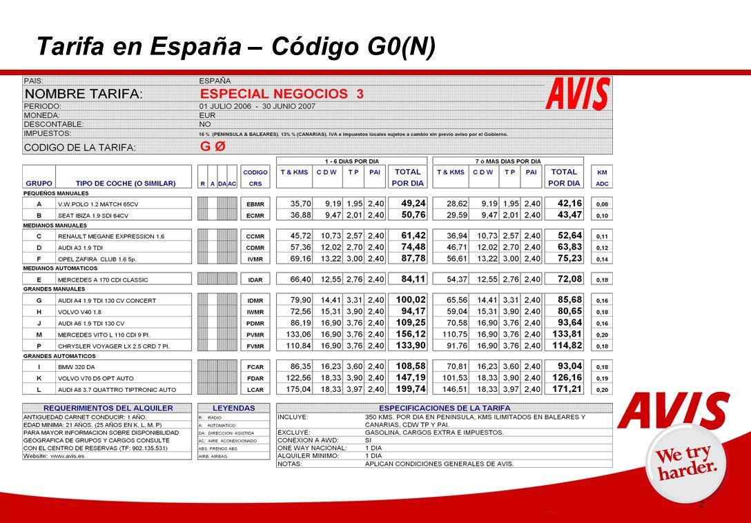 3 Condiciones generales y específicas (1) 1.Acuerdo entre AVIS Alquile un Coche,S.A.