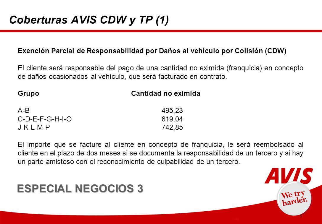 5 Coberturas AVIS CDW y TP (1) Exención Parcial de Responsabilidad por Daños al vehículo por Colisión (CDW) El cliente será responsable del pago de una cantidad no eximida (franquicia) en concepto de daños ocasionados al vehículo, que será facturado en contrato.