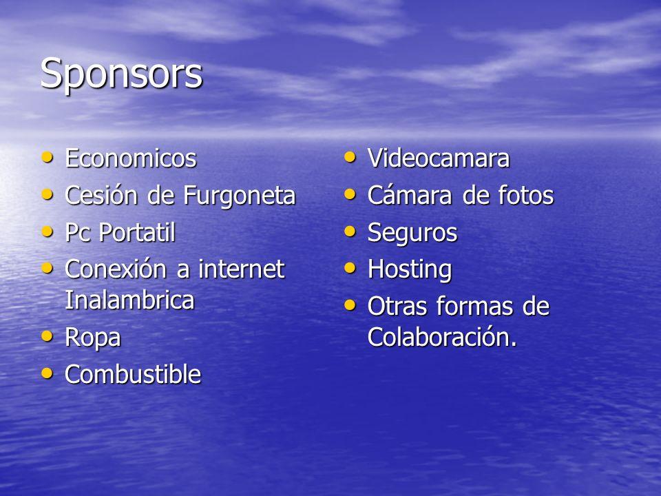 Sponsors Economicos Economicos Cesión de Furgoneta Cesión de Furgoneta Pc Portatil Pc Portatil Conexión a internet Inalambrica Conexión a internet Ina