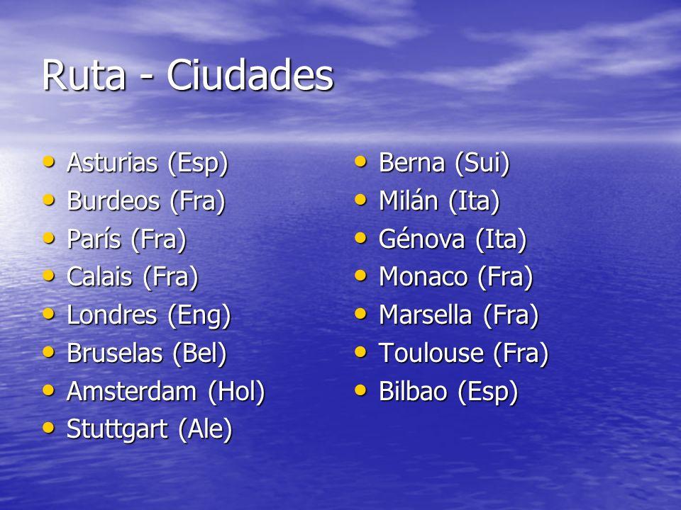 Ruta - Ciudades Asturias (Esp) Asturias (Esp) Burdeos (Fra) Burdeos (Fra) París (Fra) París (Fra) Calais (Fra) Calais (Fra) Londres (Eng) Londres (Eng