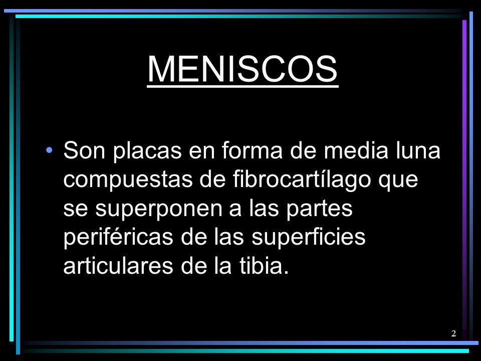 2 MENISCOS Son placas en forma de media luna compuestas de fibrocartílago que se superponen a las partes periféricas de las superficies articulares de la tibia.