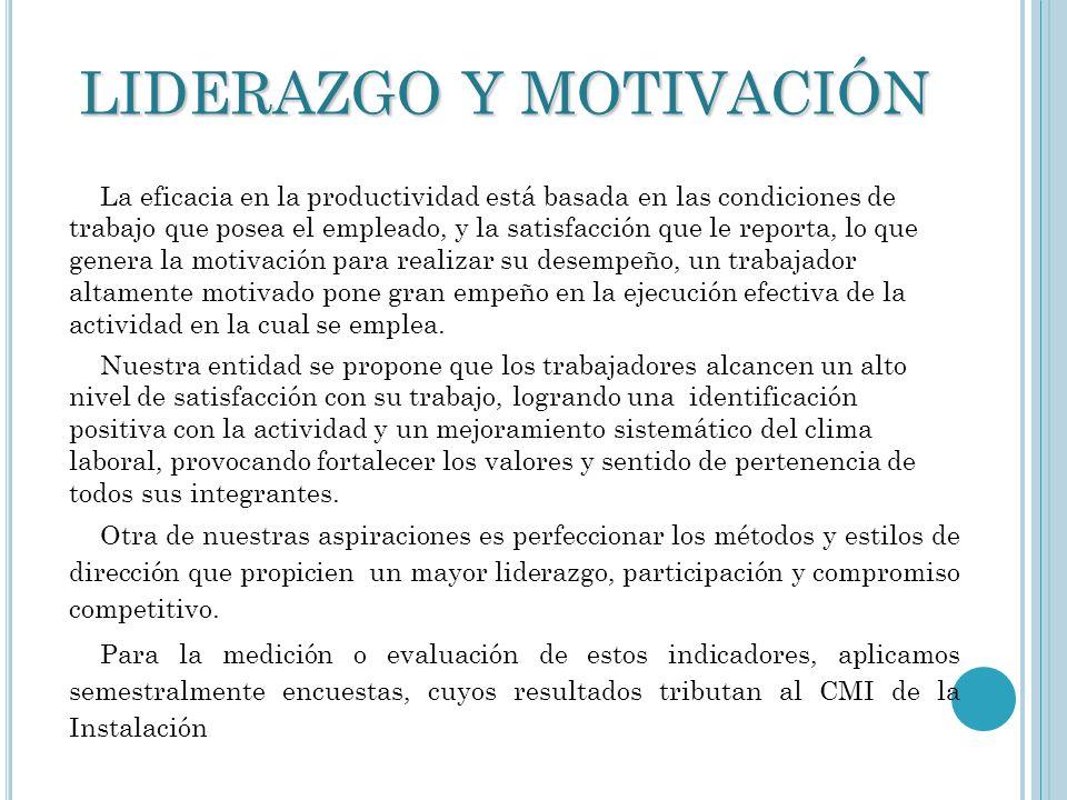 LIDERAZGO Y MOTIVACIÓN La eficacia en la productividad está basada en las condiciones de trabajo que posea el empleado, y la satisfacción que le repor