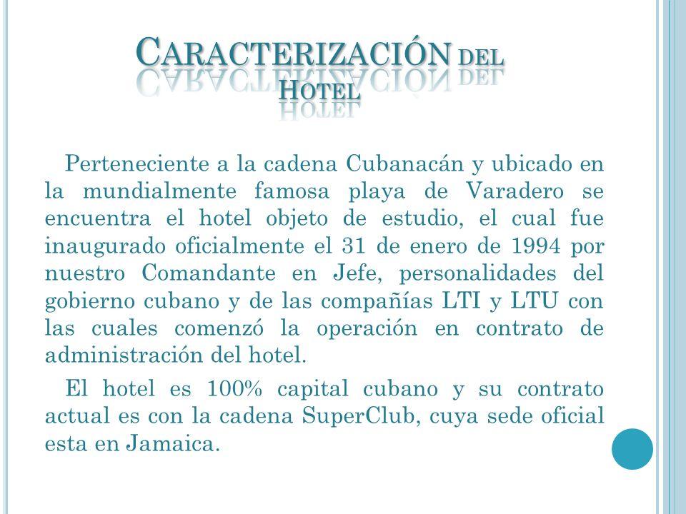 Perteneciente a la cadena Cubanacán y ubicado en la mundialmente famosa playa de Varadero se encuentra el hotel objeto de estudio, el cual fue inaugur