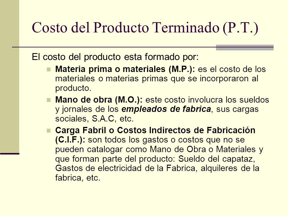 Costo del Producto Terminado (P.T.) El costo del producto esta formado por: Materia prima o materiales (M.P.): es el costo de los materiales o materia