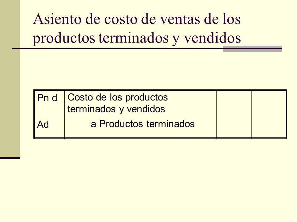 Asiento de costo de ventas de los productos terminados y vendidos Pn dCosto de los productos terminados y vendidos Ada Productos terminados