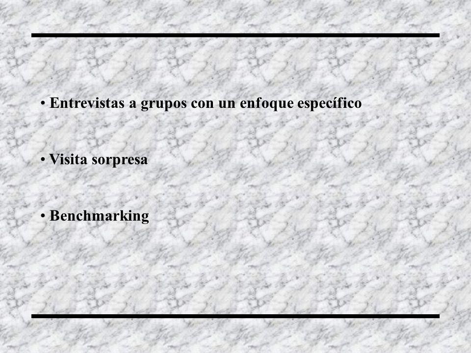 Entrevistas a grupos con un enfoque específico Visita sorpresa Benchmarking