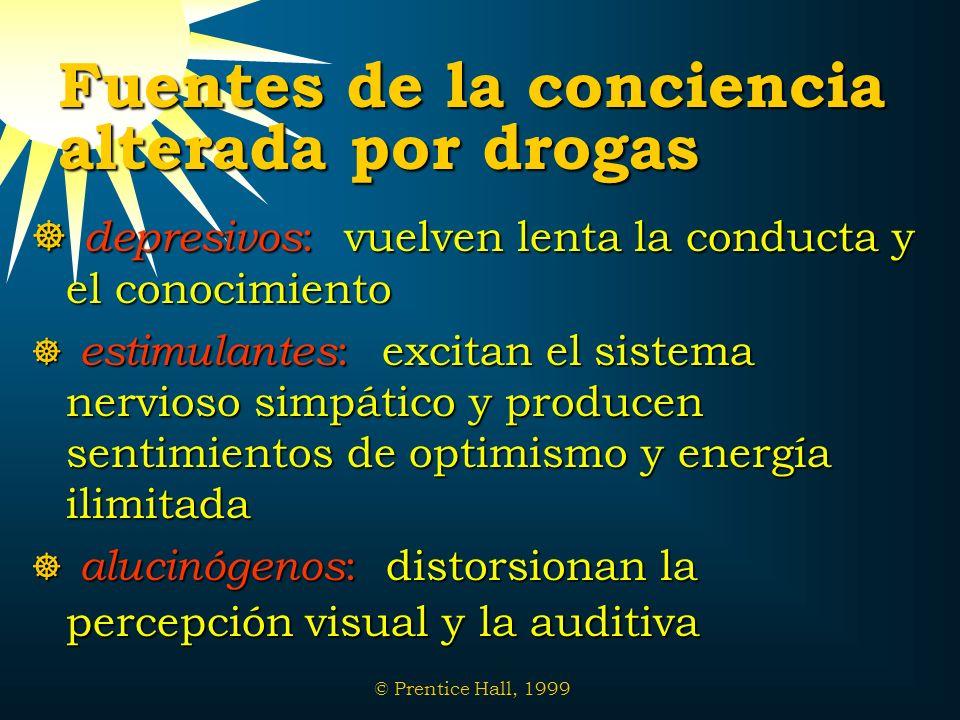 © Prentice Hall, 1999 Fuentes de la conciencia alterada por drogas depresivos : vuelven lenta la conducta y el conocimiento depresivos : vuelven lenta