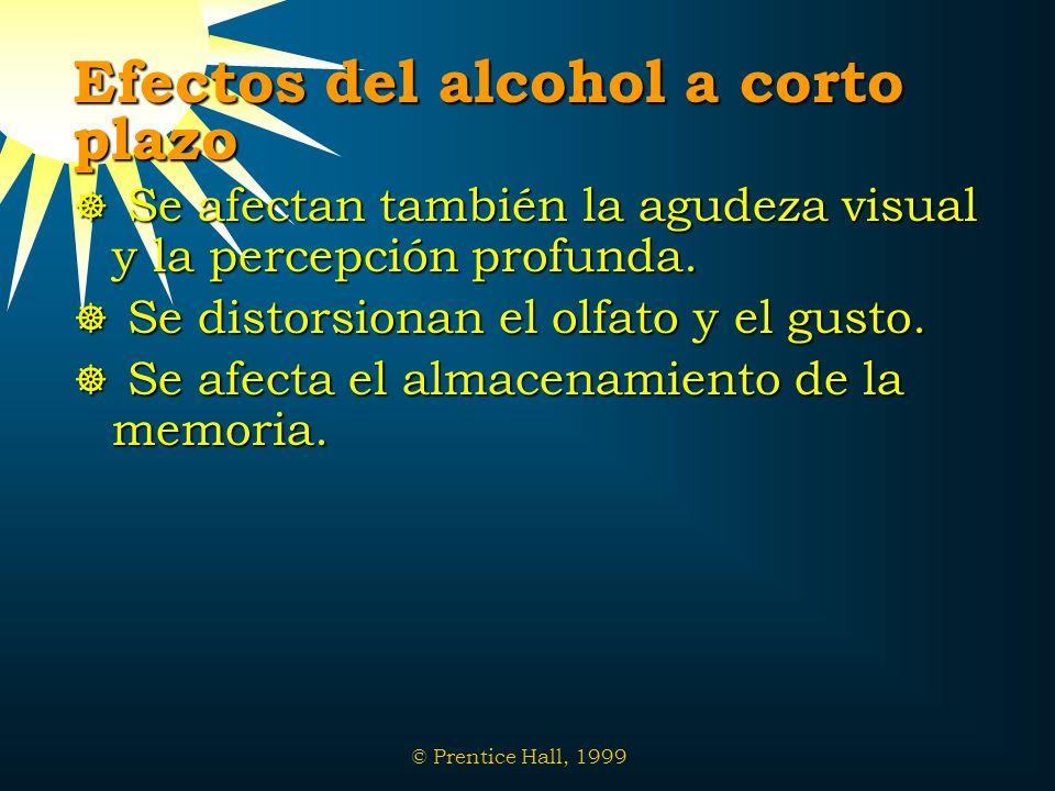 © Prentice Hall, 1999 Efectos del alcohol a corto plazo Se afectan también la agudeza visual y la percepción profunda. Se afectan también la agudeza v