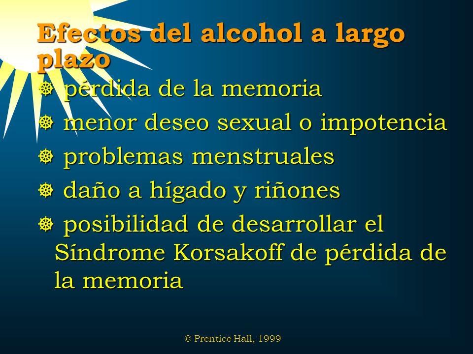 © Prentice Hall, 1999 Efectos del alcohol a largo plazo pérdida de la memoria pérdida de la memoria menor deseo sexual o impotencia menor deseo sexual
