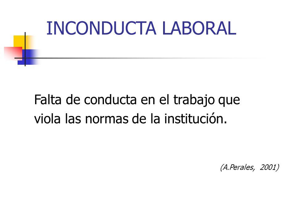 INCONDUCTA LABORAL Falta de conducta en el trabajo que viola las normas de la institución. (A.Perales, 2001)