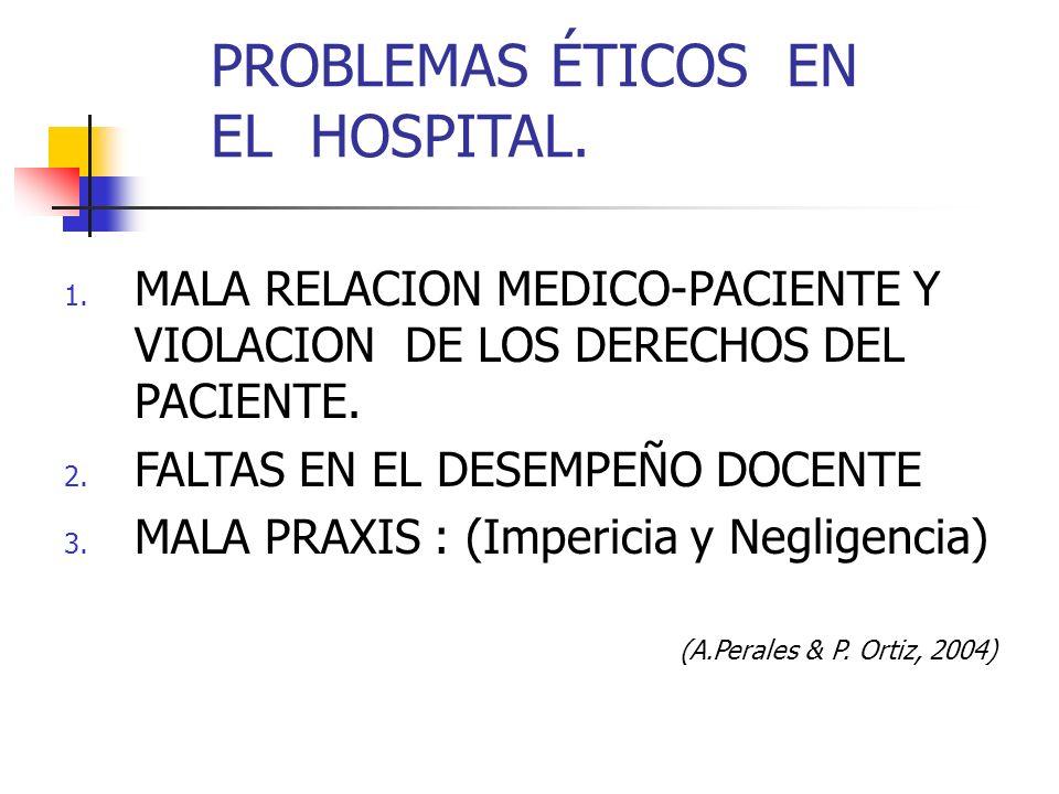 PROBLEMAS ÉTICOS EN EL HOSPITAL. 1. MALA RELACION MEDICO-PACIENTE Y VIOLACION DE LOS DERECHOS DEL PACIENTE. 2. FALTAS EN EL DESEMPEÑO DOCENTE 3. MALA