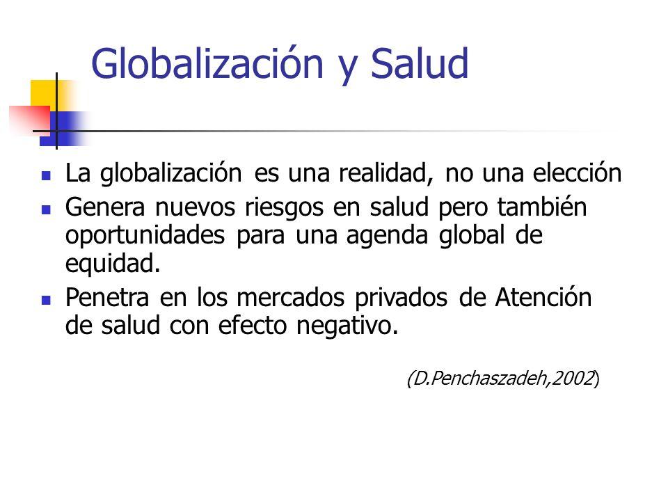 Globalización y Salud La globalización es una realidad, no una elección Genera nuevos riesgos en salud pero también oportunidades para una agenda glob