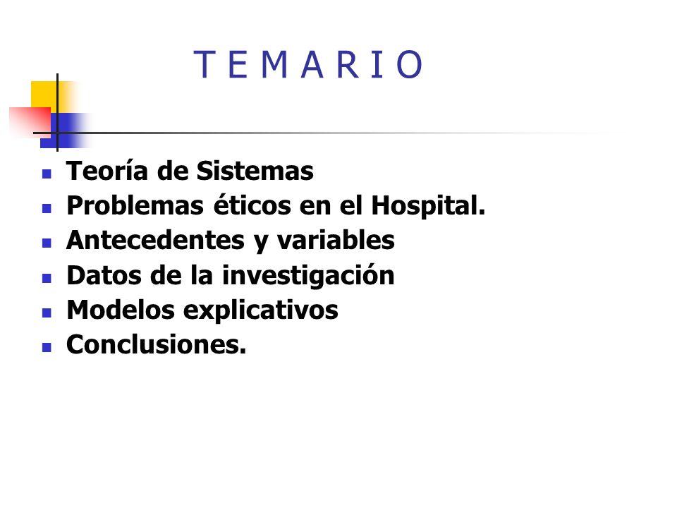 T E M A R I O Teoría de Sistemas Problemas éticos en el Hospital. Antecedentes y variables Datos de la investigación Modelos explicativos Conclusiones