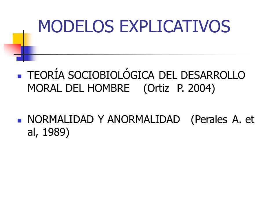 MODELOS EXPLICATIVOS TEORÍA SOCIOBIOLÓGICA DEL DESARROLLO MORAL DEL HOMBRE (Ortiz P. 2004) NORMALIDAD Y ANORMALIDAD (Perales A. et al, 1989)
