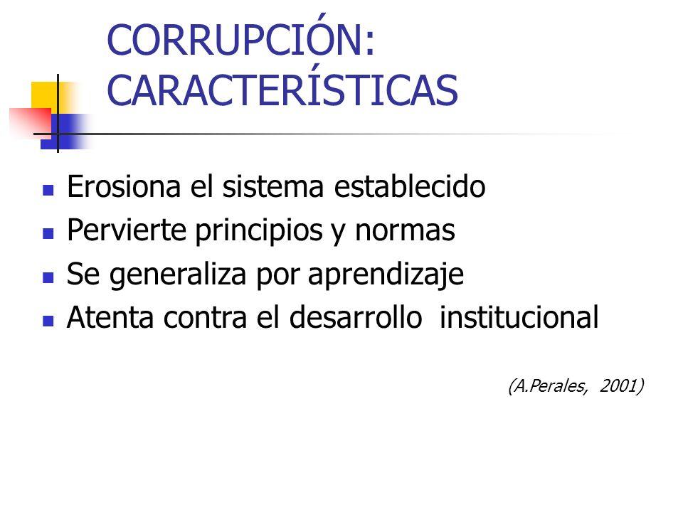 CORRUPCIÓN: CARACTERÍSTICAS Erosiona el sistema establecido Pervierte principios y normas Se generaliza por aprendizaje Atenta contra el desarrollo in