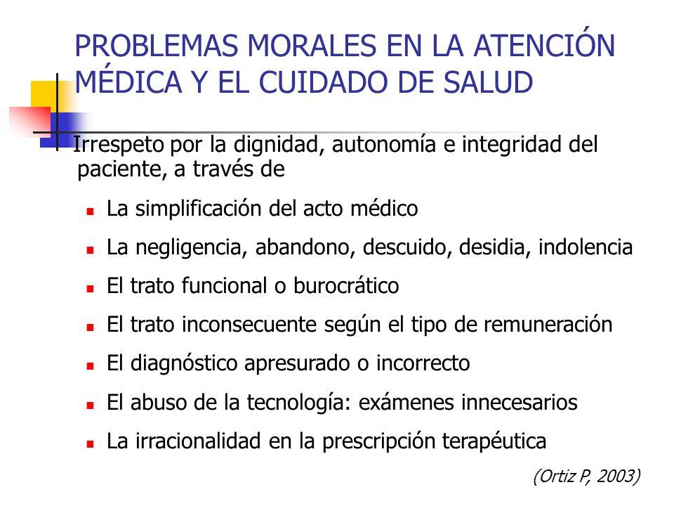 PROBLEMAS MORALES EN LA ATENCIÓN MÉDICA Y EL CUIDADO DE SALUD Irrespeto por la dignidad, autonomía e integridad del paciente, a través de La simplific