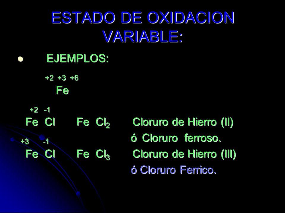 EJEMPLOS: +3 +2 +1 Al Zn Ag +1 -2 Na O Na 2 O Oxído de Sodio. +1 -1 K Br K 1 Br 1 KBr Bromuro - de potasio. +3 -2 Al S Al 2 S 3 Sulfato de aluminio.