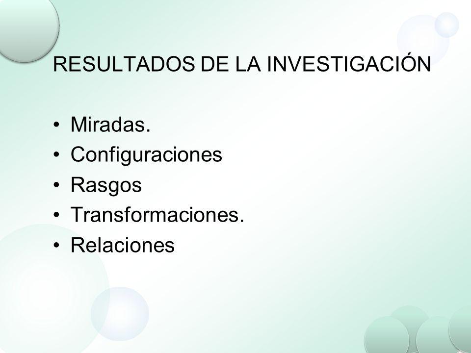 RESULTADOS DE LA INVESTIGACIÓN Miradas. Configuraciones Rasgos Transformaciones. Relaciones
