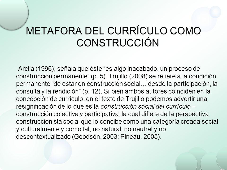 METAFORA DEL CURRÍCULO COMO CONSTRUCCIÓN Arcila (1996), señala que éste es algo inacabado, un proceso de construcción permanente (p. 5). Trujillo (200