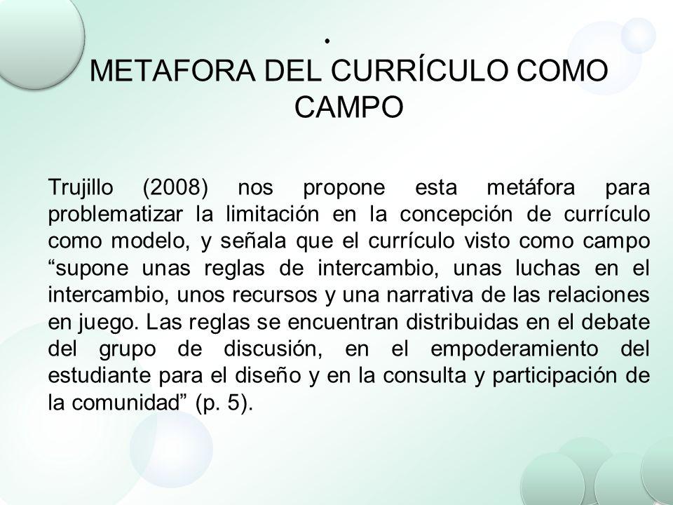 METAFORA DEL CURRÍCULO COMO CAMPO Trujillo (2008) nos propone esta metáfora para problematizar la limitación en la concepción de currículo como modelo